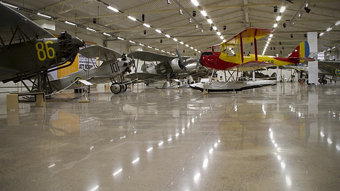 Airplane hanger polished floor